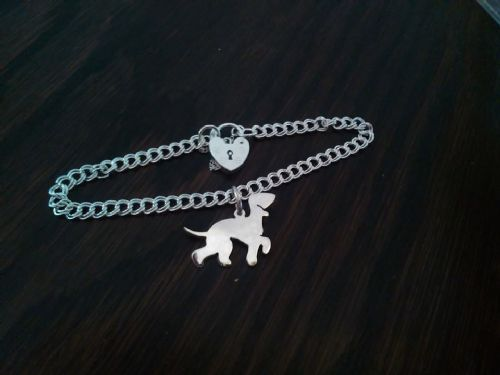 bedlington charm on a z curb bracelet solid sterling silver